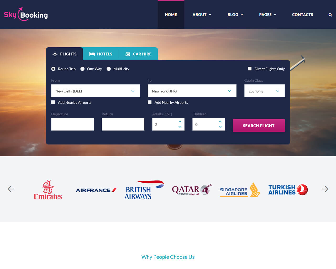 Sky Booking Website Template