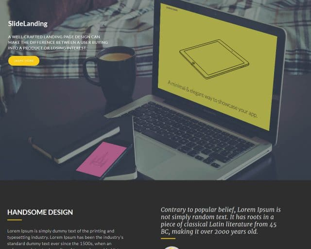 SlideLanding – Bootstrap Landing Page Template