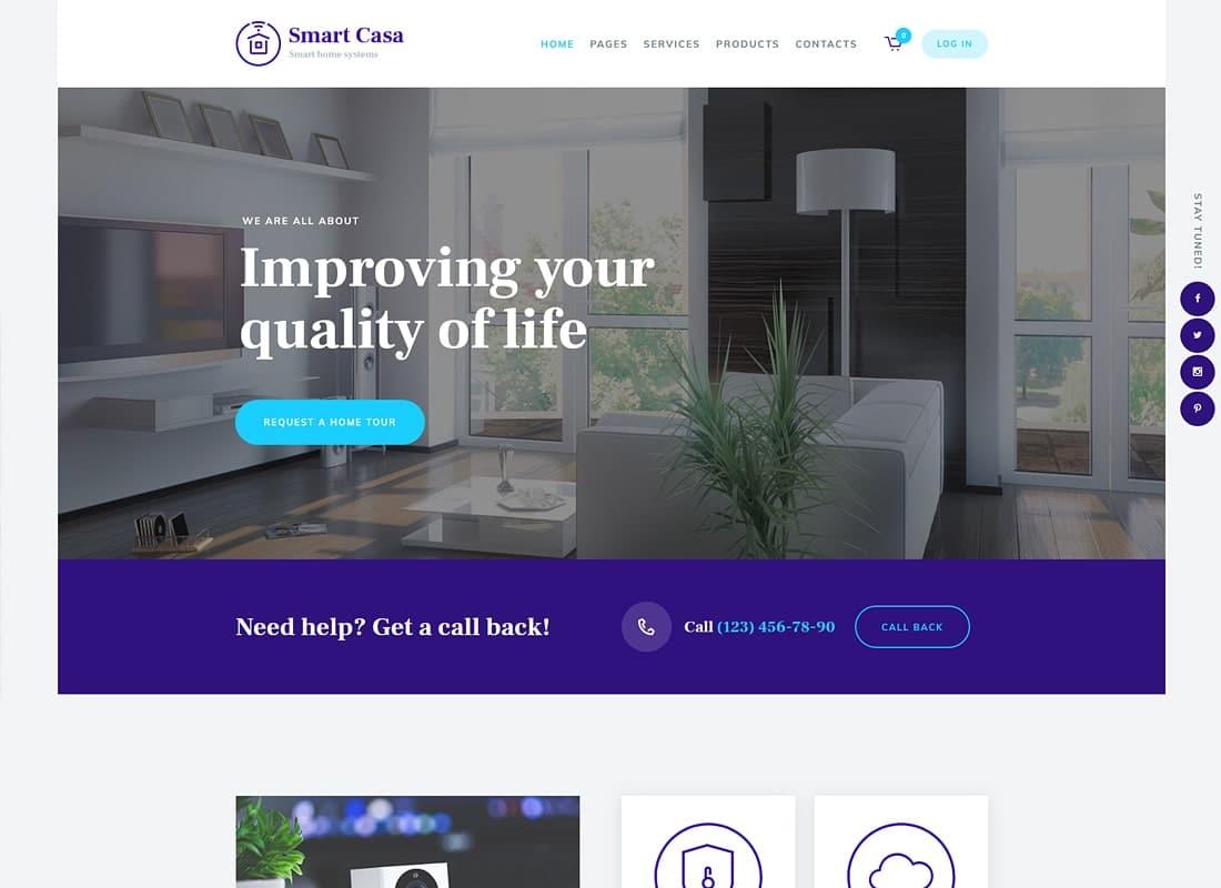 Smart Casa | Home Automation & Technologies WordPress Theme Website Template