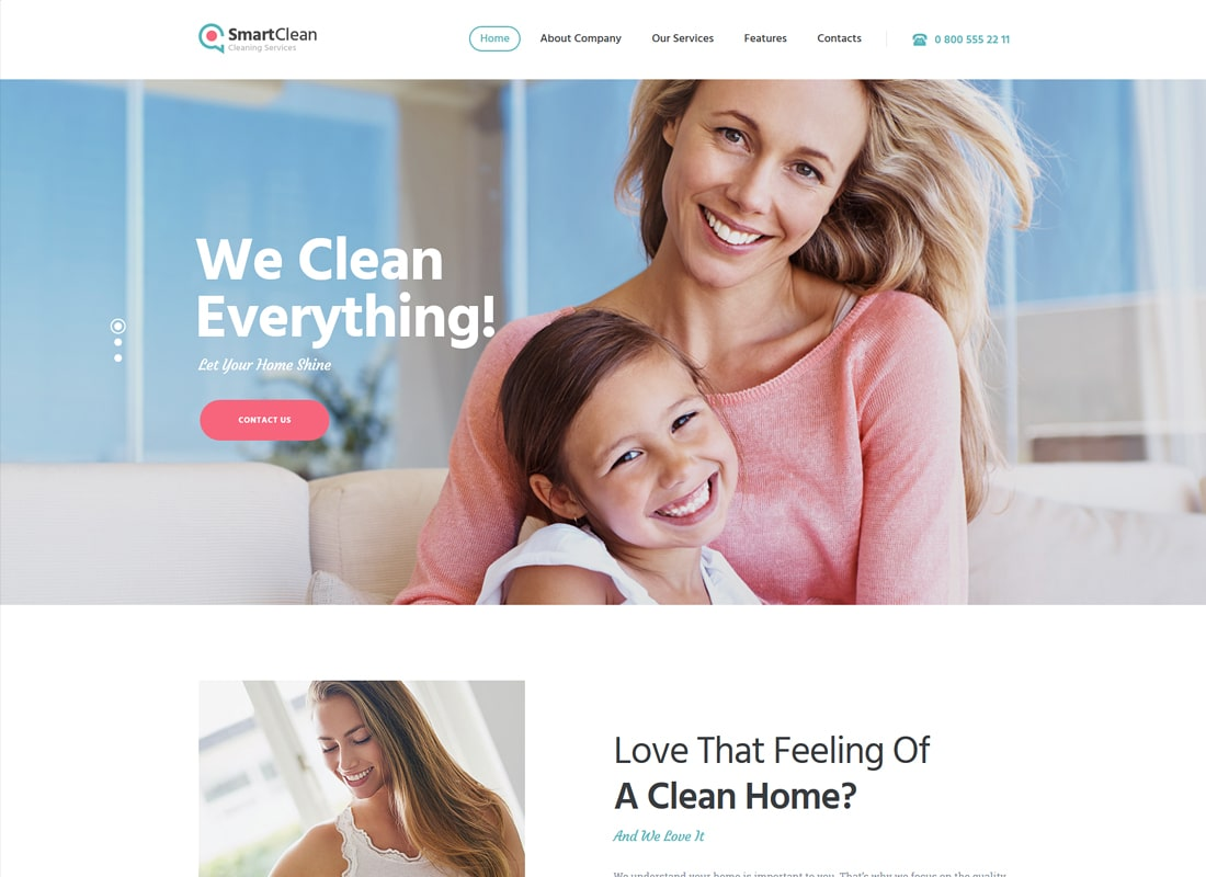 SmartClean | Housekeeping, Washing & Cleaning Company WordPress Theme Website Template