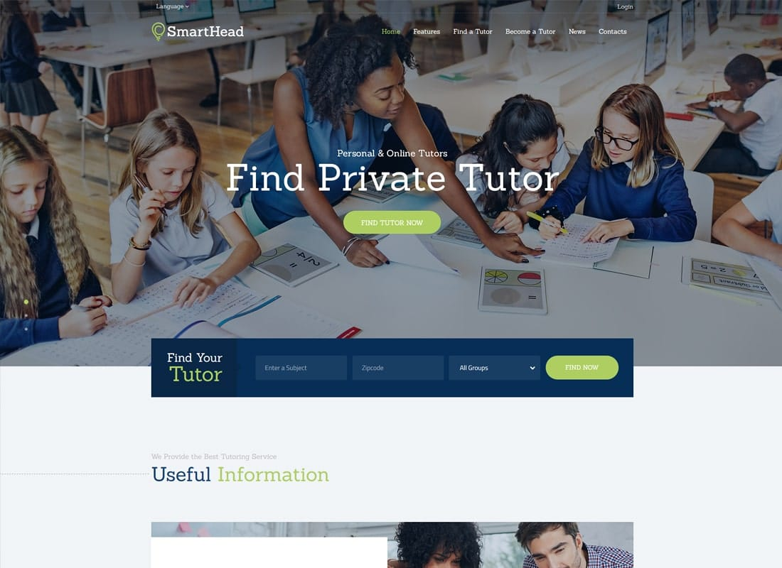 SmartHead | Tutoring Service & Online School WordPress Theme   Website Template