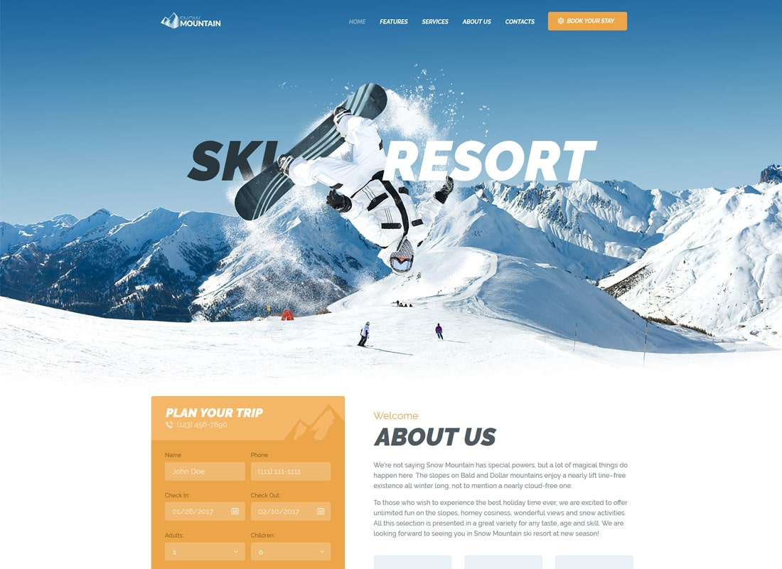 Snow Mountain | Ski Resort & Snowboard School WordPress Theme Website Template