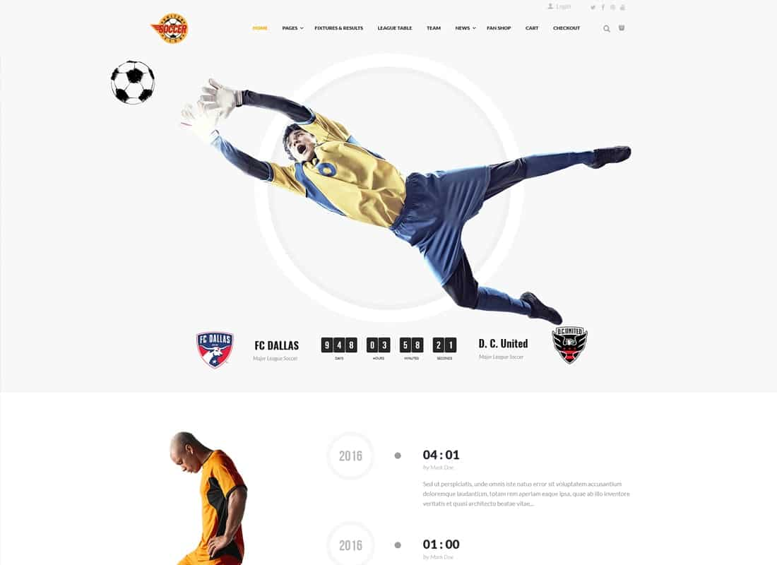 Soccer Club | Soccer, Football Club WordPress Theme Website Template