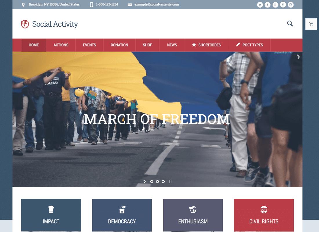 Social Activity - Politics & Activism WP Theme Website Template