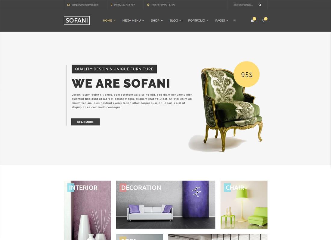 Sofani | Furniture Store WooCommerce WordPress Theme Website Template