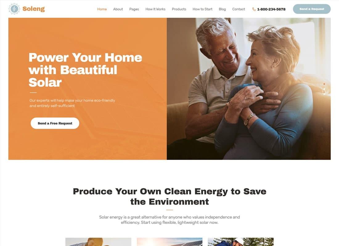 Soleng | A Solar Energy Company WordPress Theme   Website Template
