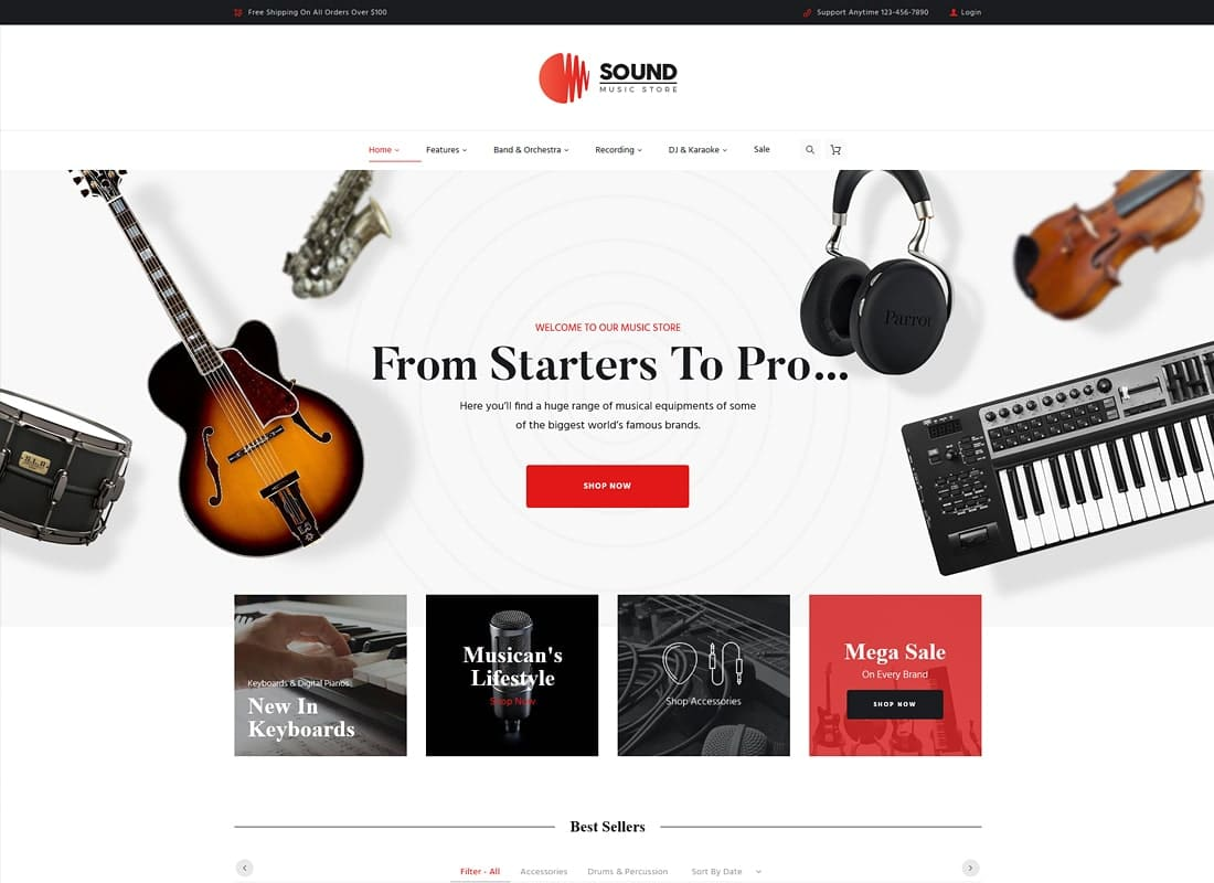 Sound | Musical Instruments Online Store WordPress Theme Website Template