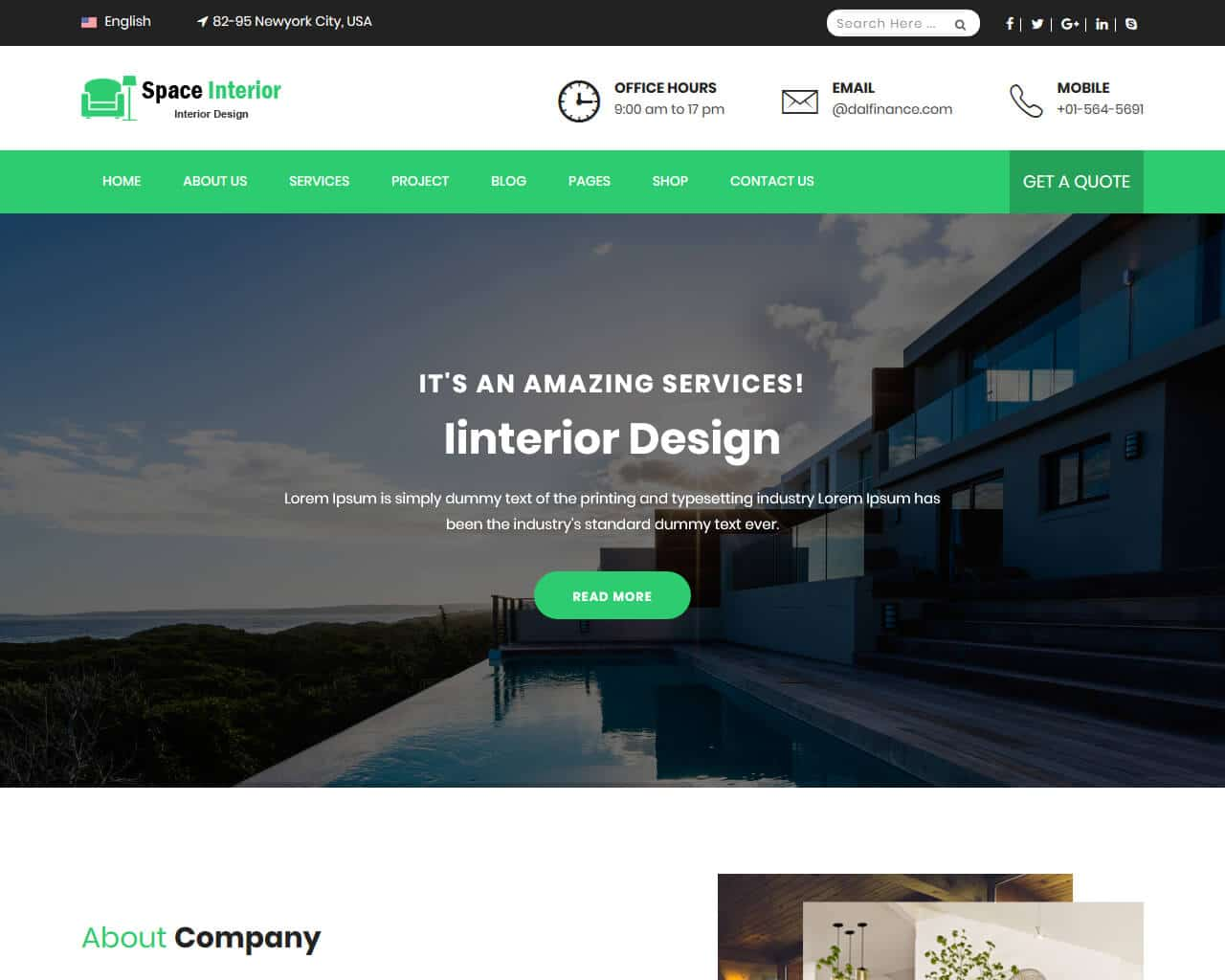 Space Interior Website Template