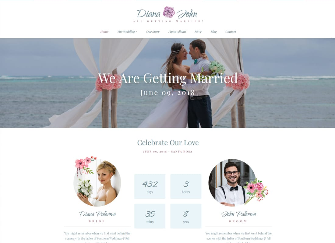 Special Day - Wedding Day, Planner, & Event Theme Website Template