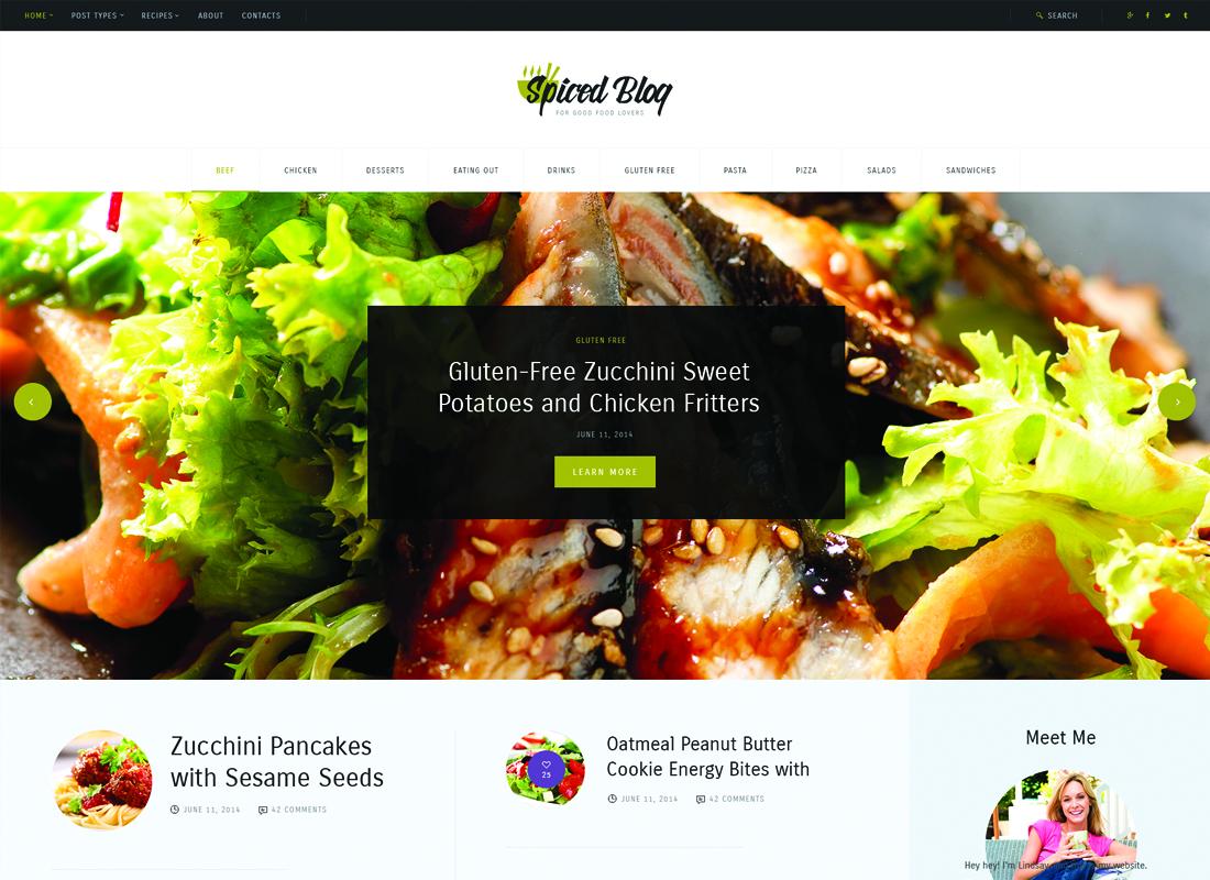 Spiced Blog | A Crisp Recipes & Food Personal Blog WordPress Theme Website Template
