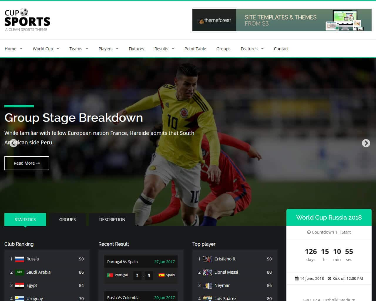 Sports Cup Website Template