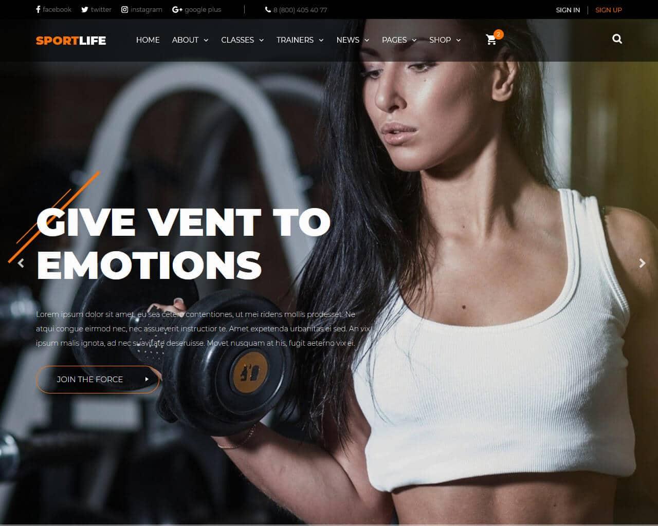 SportLife Website Template