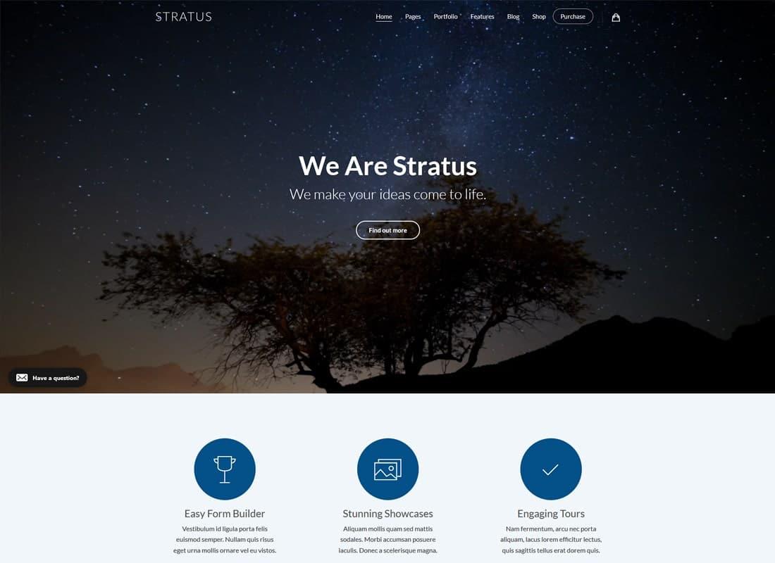 App, SaaS & Software Startup Tech Theme - Stratus Website Template