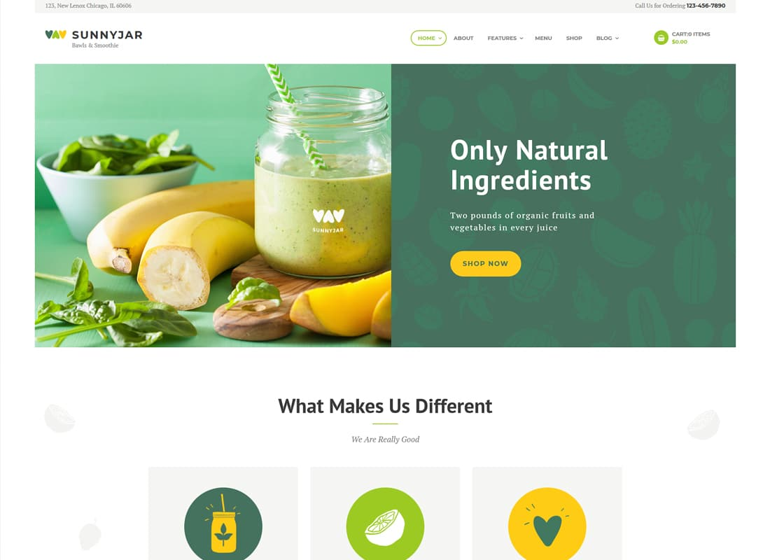 SunnyJar - Smoothie Bar & Healthy Drinks Shop WordPress Theme   Website Template