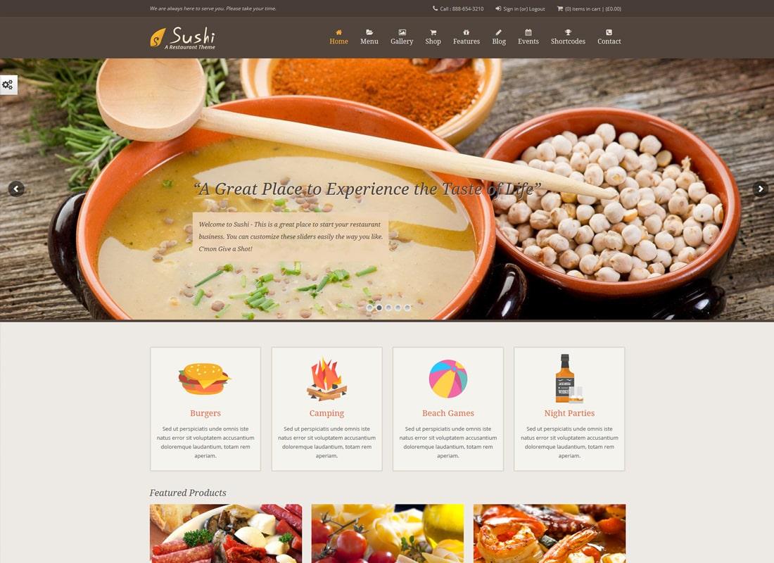 Sushi Restaurant | Food & Restaurant Theme Website Template