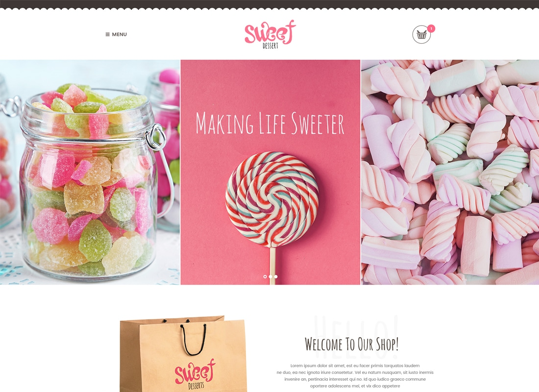 Sweet Dessert - Sweet Shop & Cafe WordPress Theme Website Template