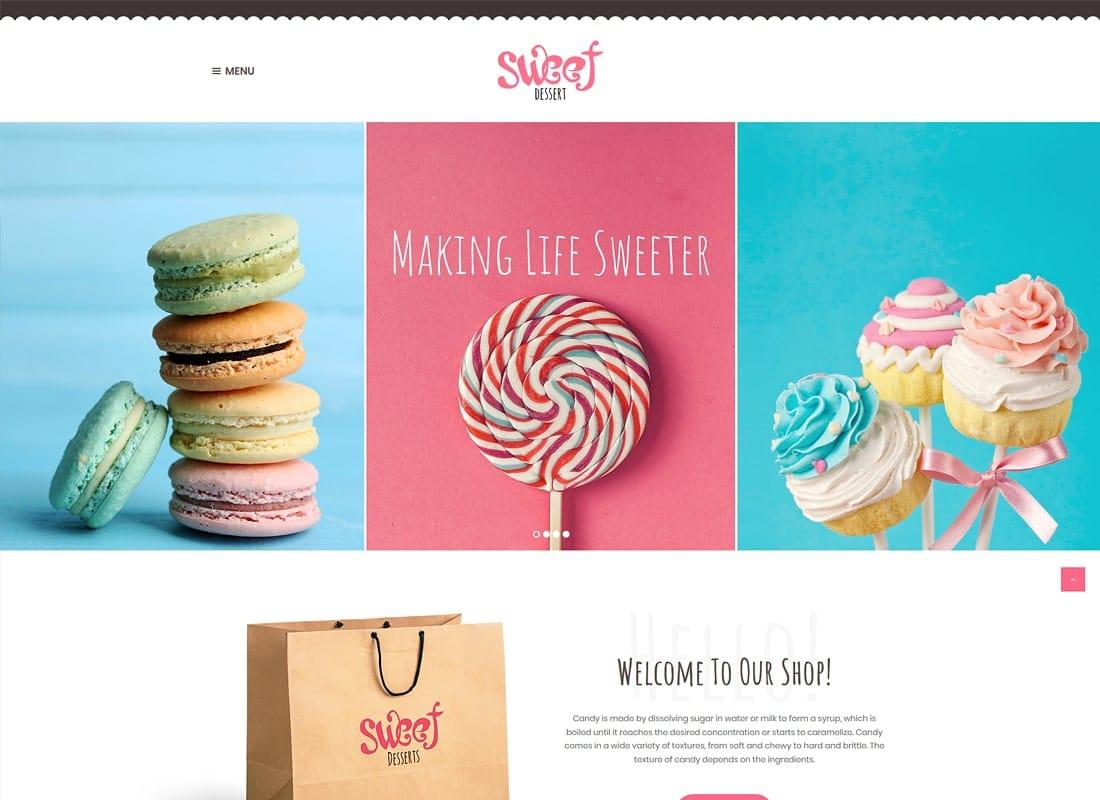 Sweet Dessert   Candy Shop & Cafe WordPress Theme Website Template