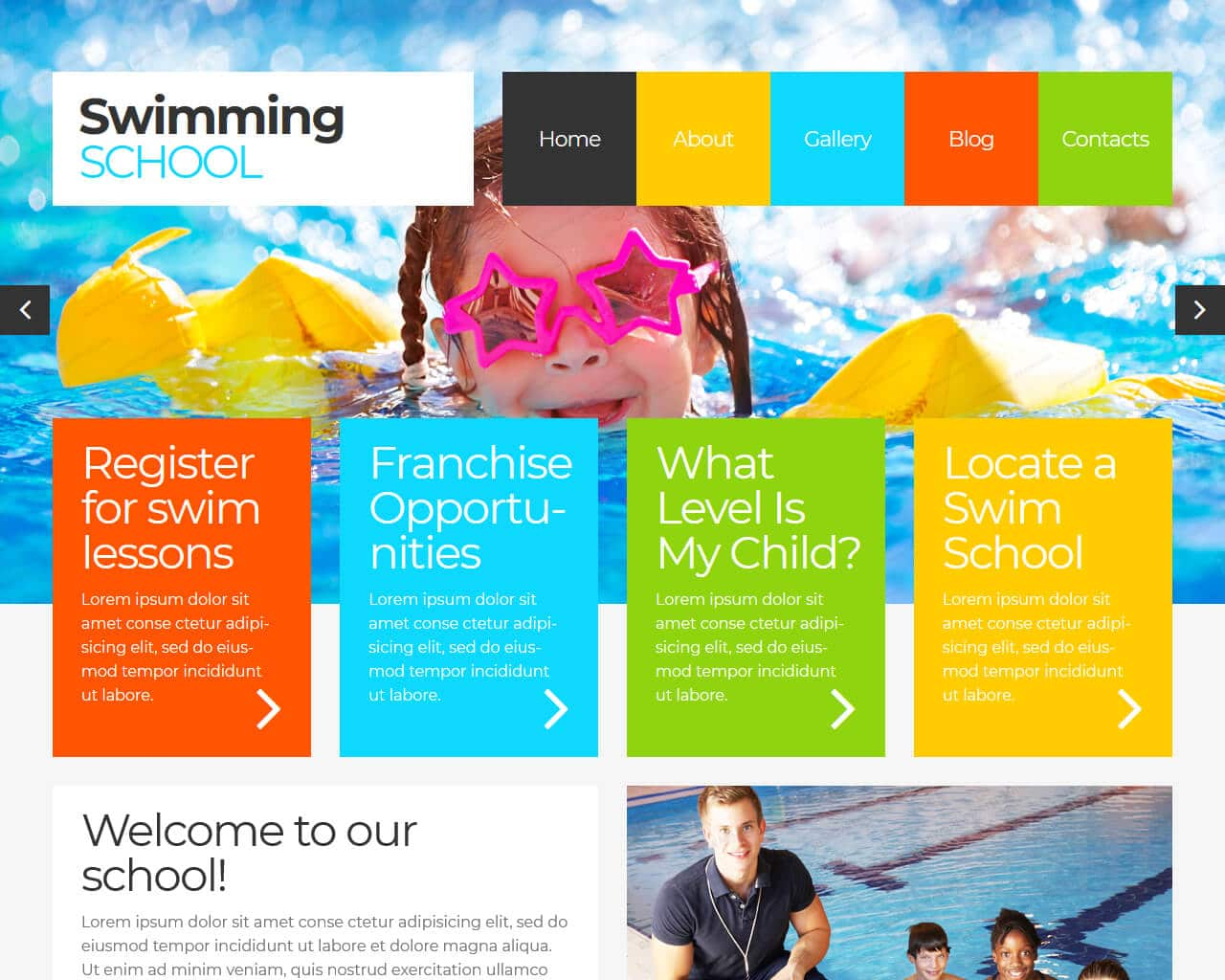 Swimming School Website Template