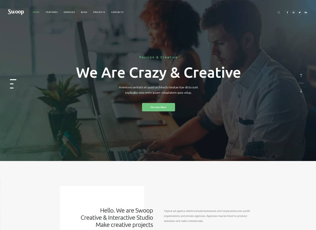 Swoop | Web Studio & Creative Agency WordPress Theme Website Template