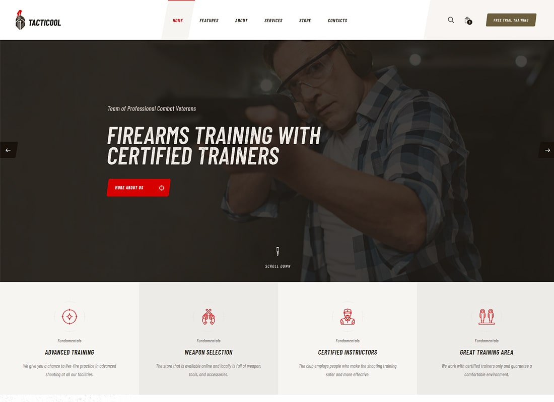 Tacticool | Shooting Range & Gun Store WordPress Theme Website Template
