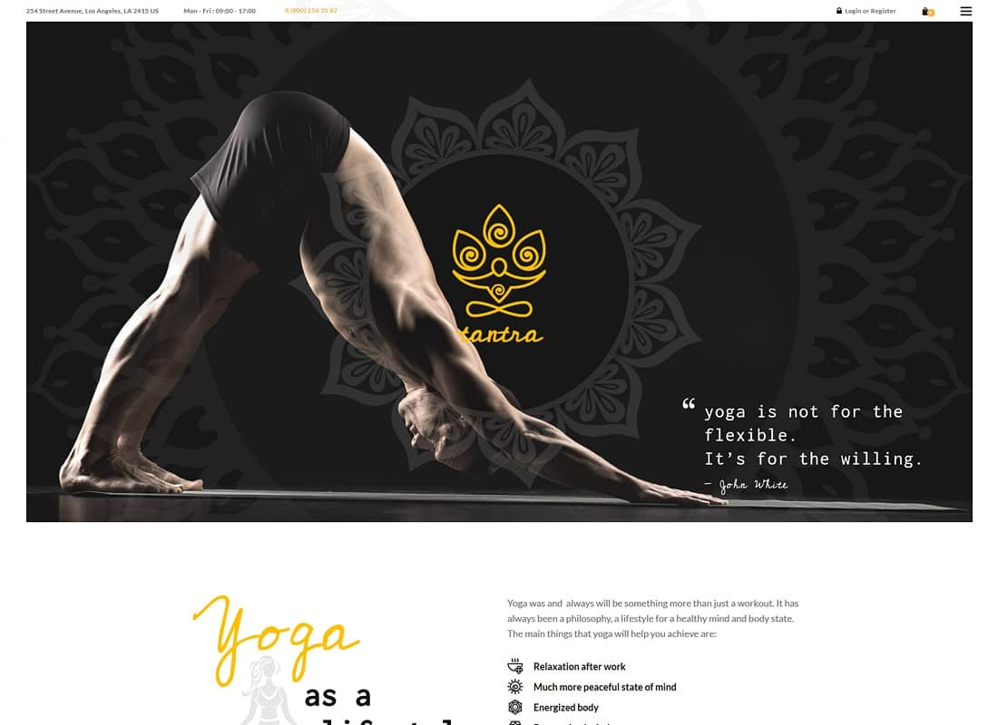 Tantra | A Yoga Studio and Fitness Club WordPress Theme Website Template