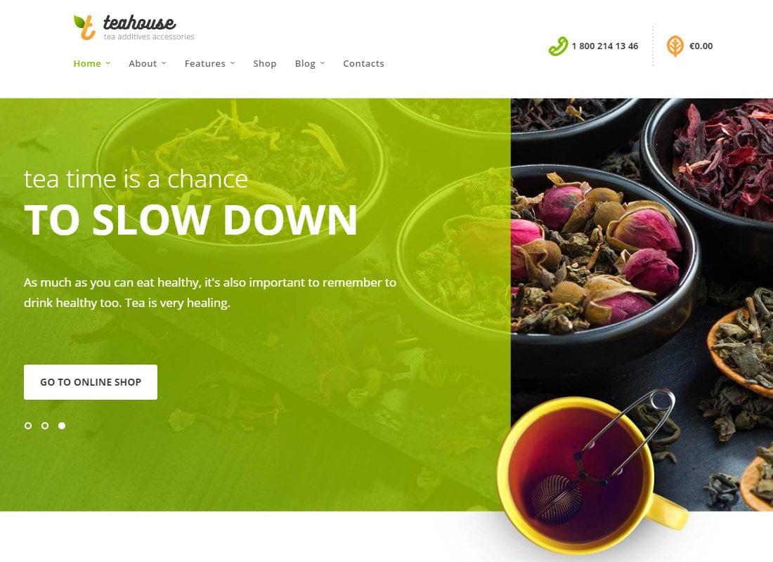 TeaHouse | Tea Store and Coffee Shop WordPress Theme Website Template