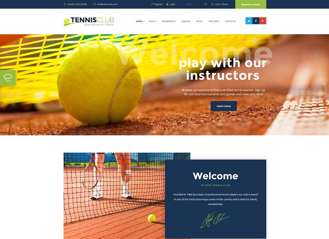 Tennis Club | Sports & Events WordPress Theme Website Template