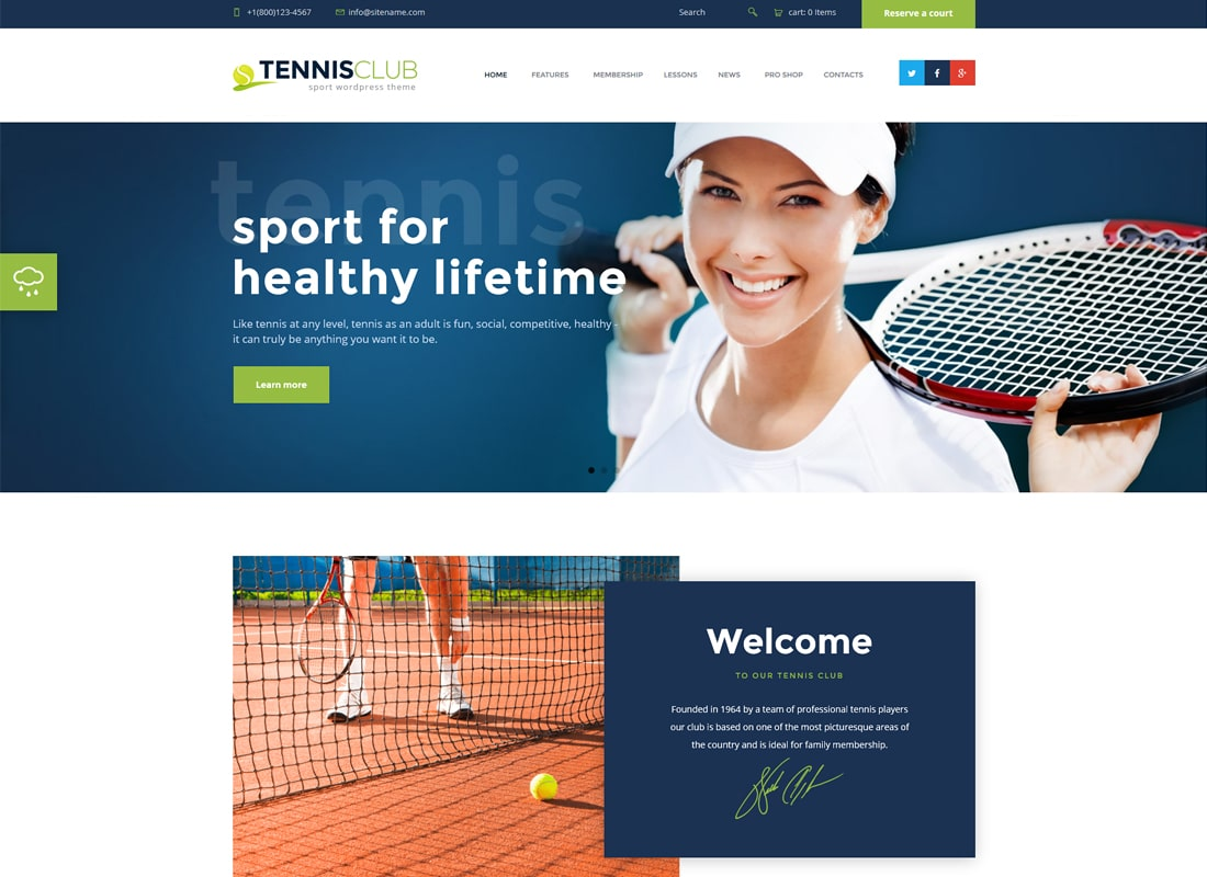 Tennis Club | Sports & Events WordPress Theme Website Template