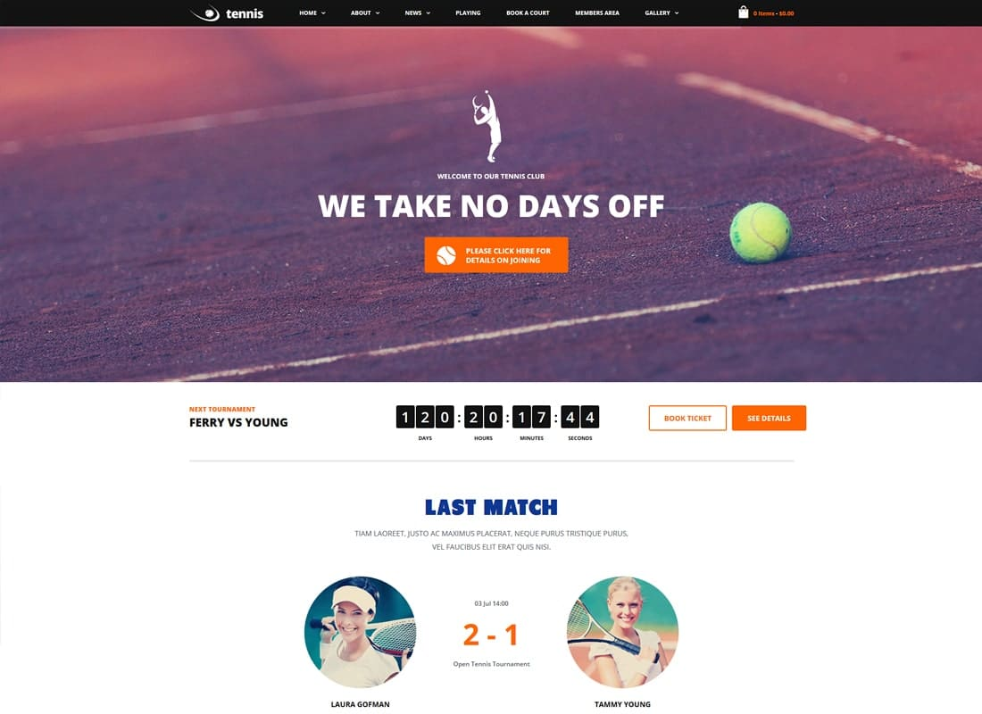 Tennis Club | Tennis, Sport Club & Events WordPress Theme Website Template