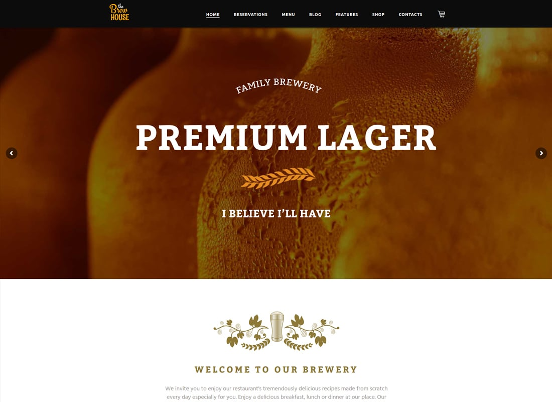 The Brew House - Brewery / Pub / Restaurant WordPress Theme Website Template