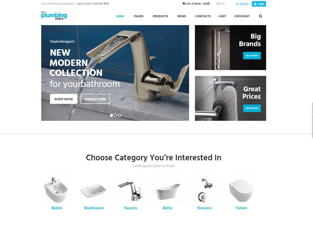 Plumbing and Building Parts, Tools & Accessories Store WordPress Theme Website Template