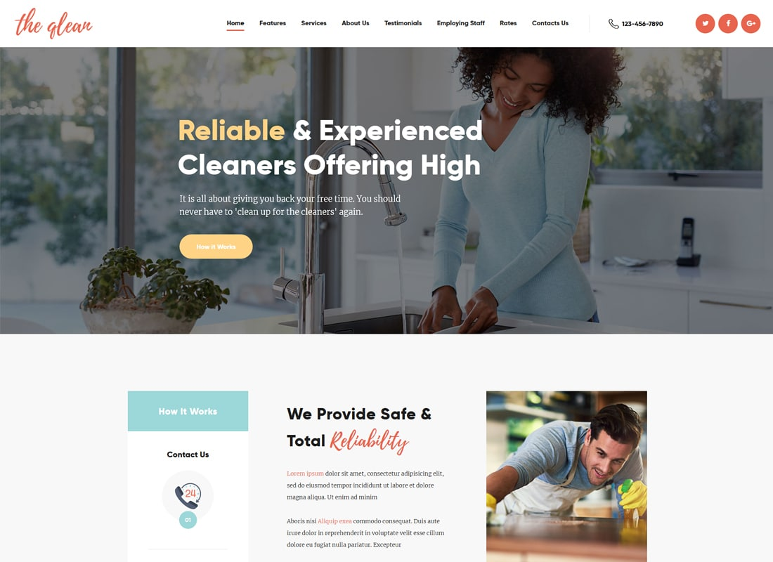 The Qlean | Cleaning Company WordPress Theme Website Template