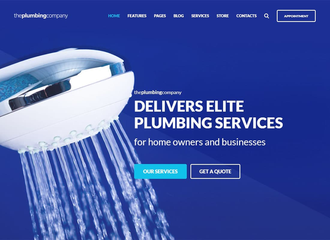 Plumbing - Repair, Building & Construction WordPress Theme Website Template