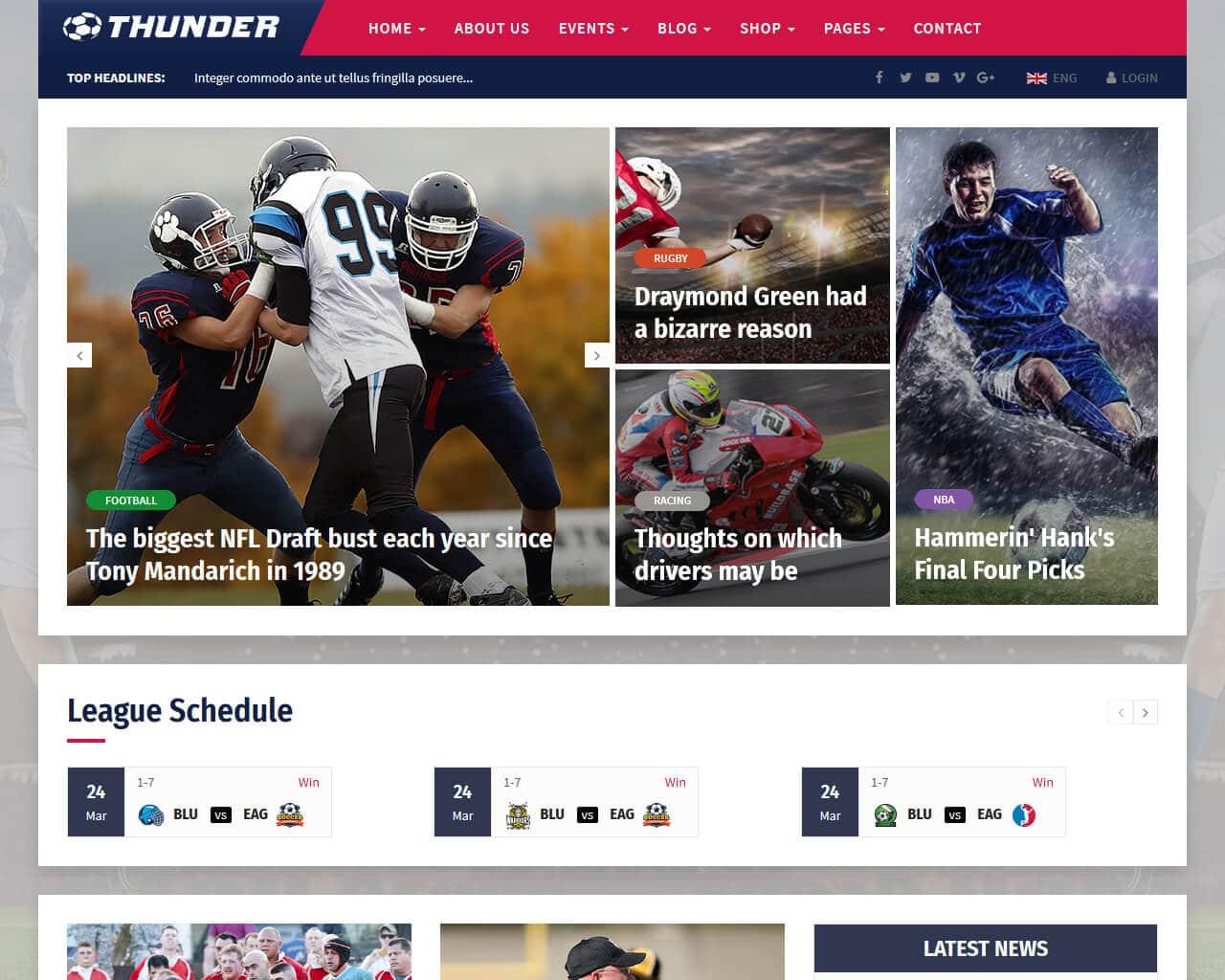 20 top sports website templates 2018 templatemag