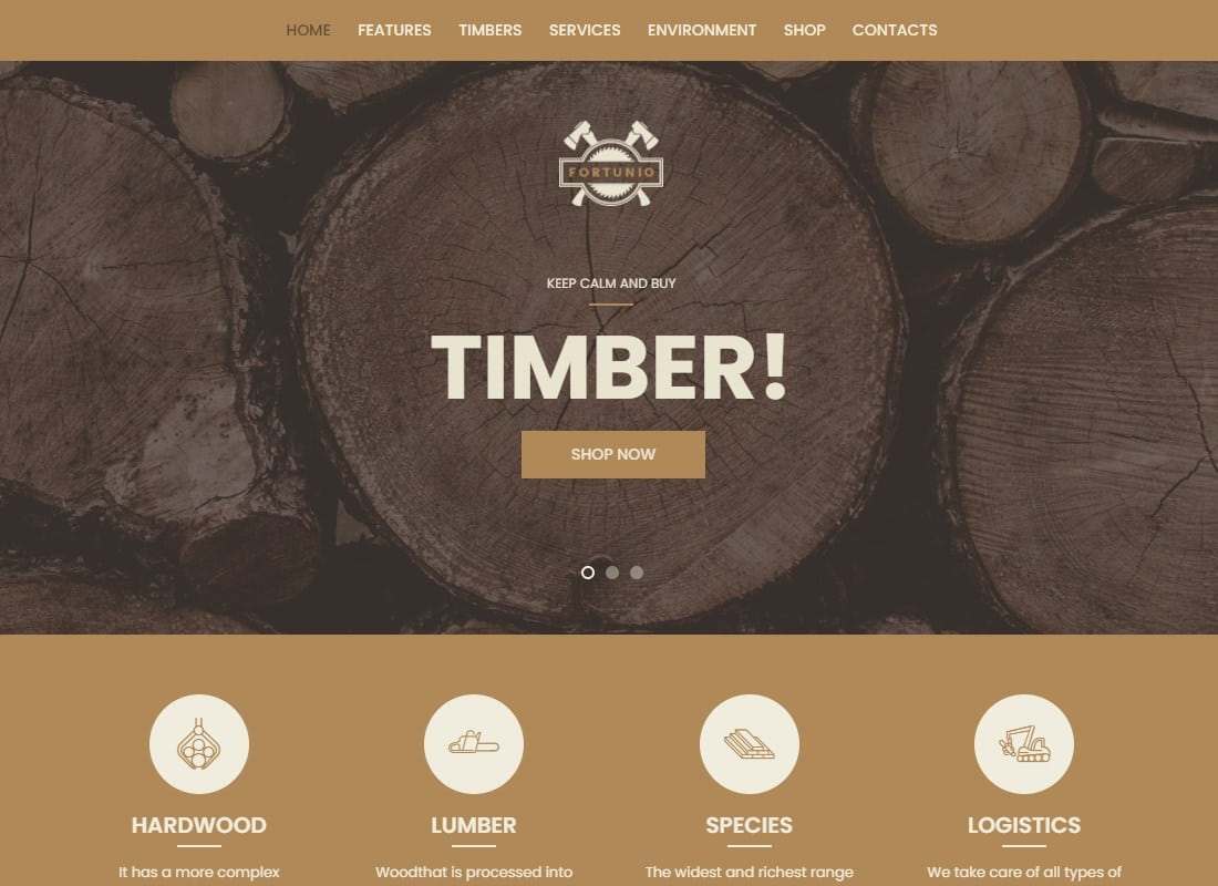 Fortunio - Timber / Forestry / Wood Manufacture WordPress Theme Website Template