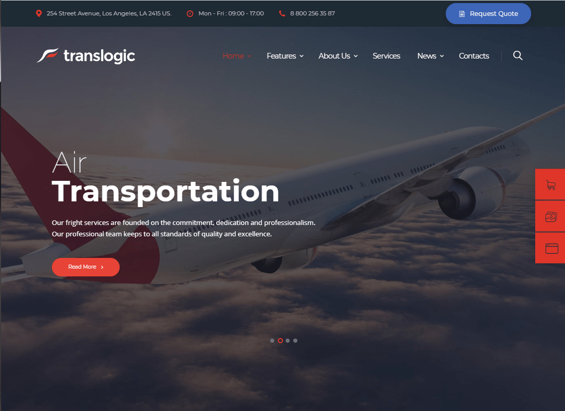 Translogic   Logistics & Shipment Transportation WordPress Theme Website Template