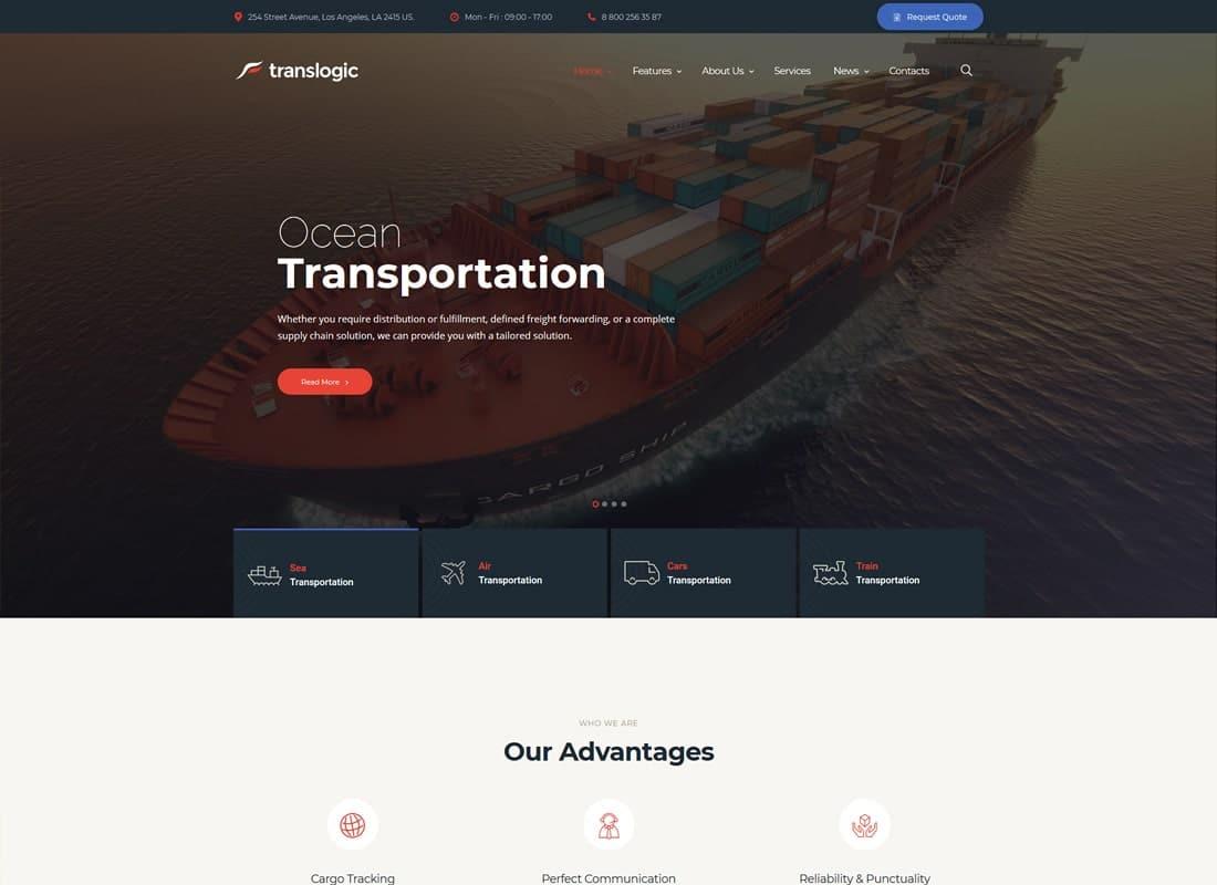 Translogic | Logistics & Shipment Transportation WordPress Theme Website Template