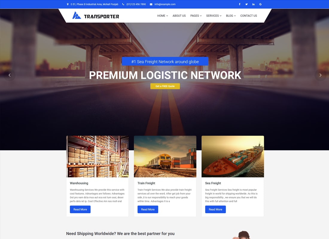 Transporter | Transportation & Logistics WordPress Theme Website Template