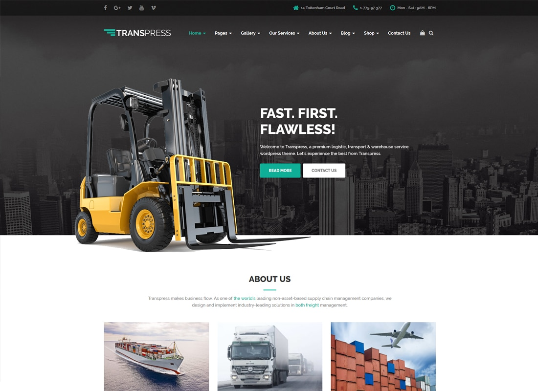 Transpress – Transport, Logistics and Warehouse WordPress Theme Website Template