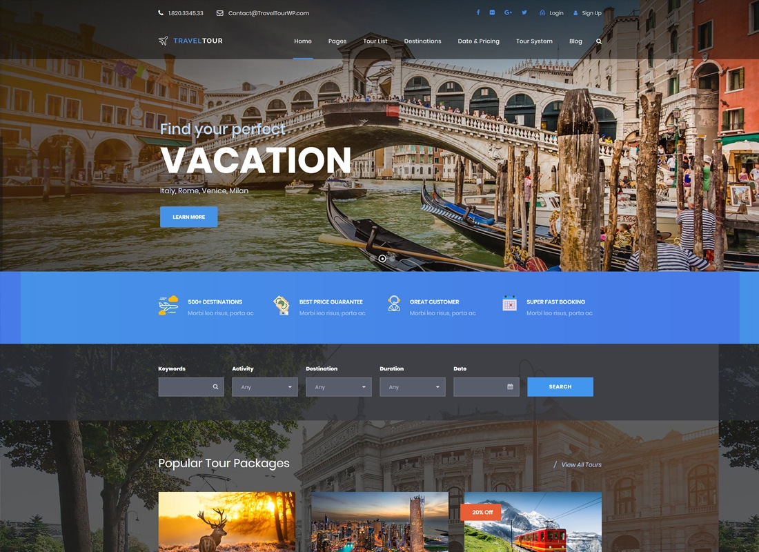 Travel Tour - Tour Booking, Travel Booking WordPress Theme   Website Template