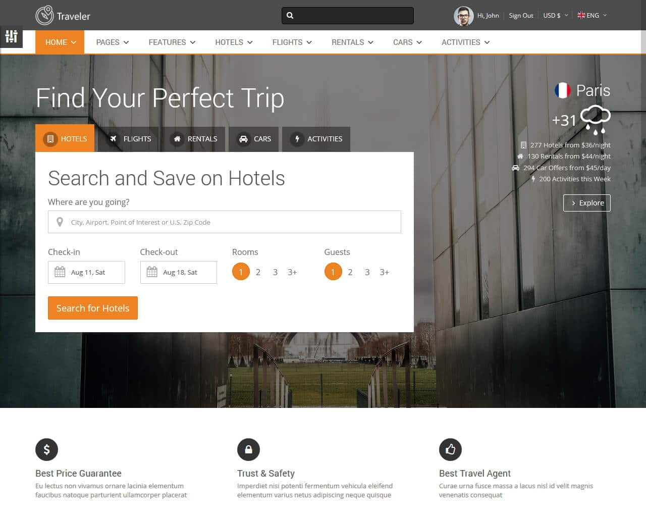 Traveler Website Template