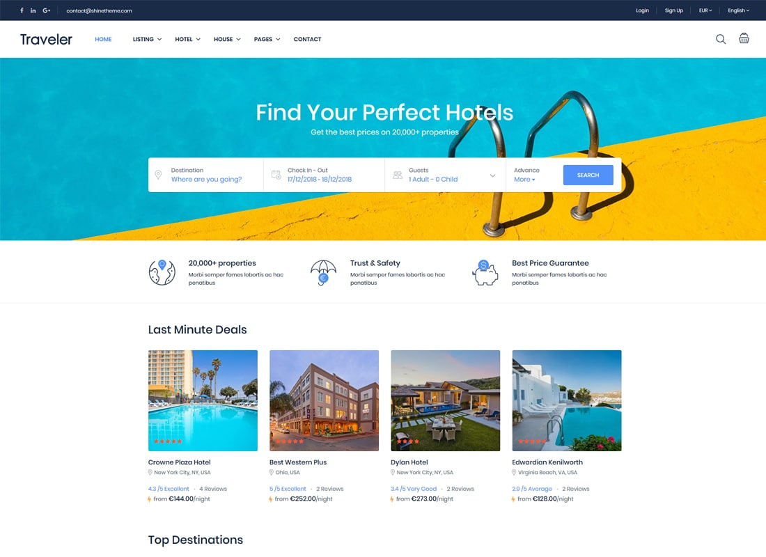 Traveler - Travel Booking WordPress Theme   Website Template