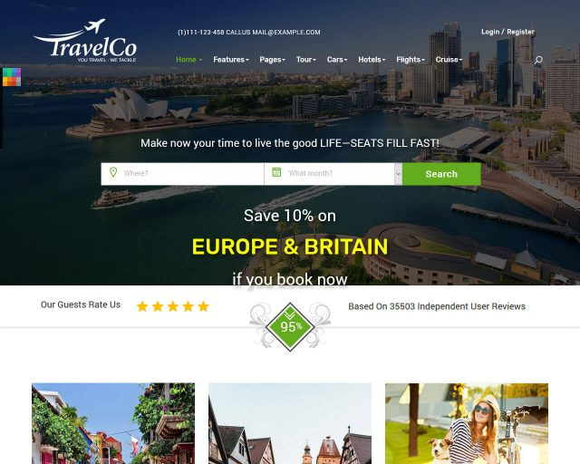 20+ Top Travel and Accommodation Website Templates 2018