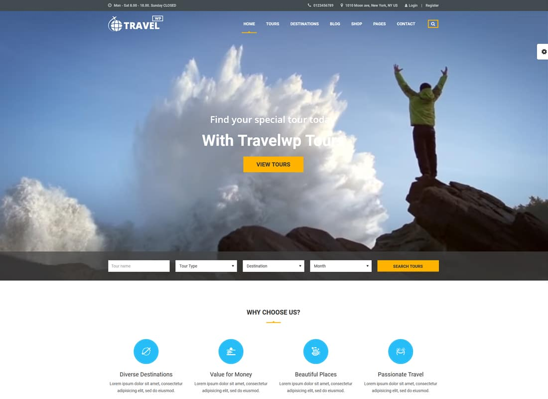 Travel WP - Tour & Travel WordPress Theme for Travel Agency and Tour Operator   Website Template