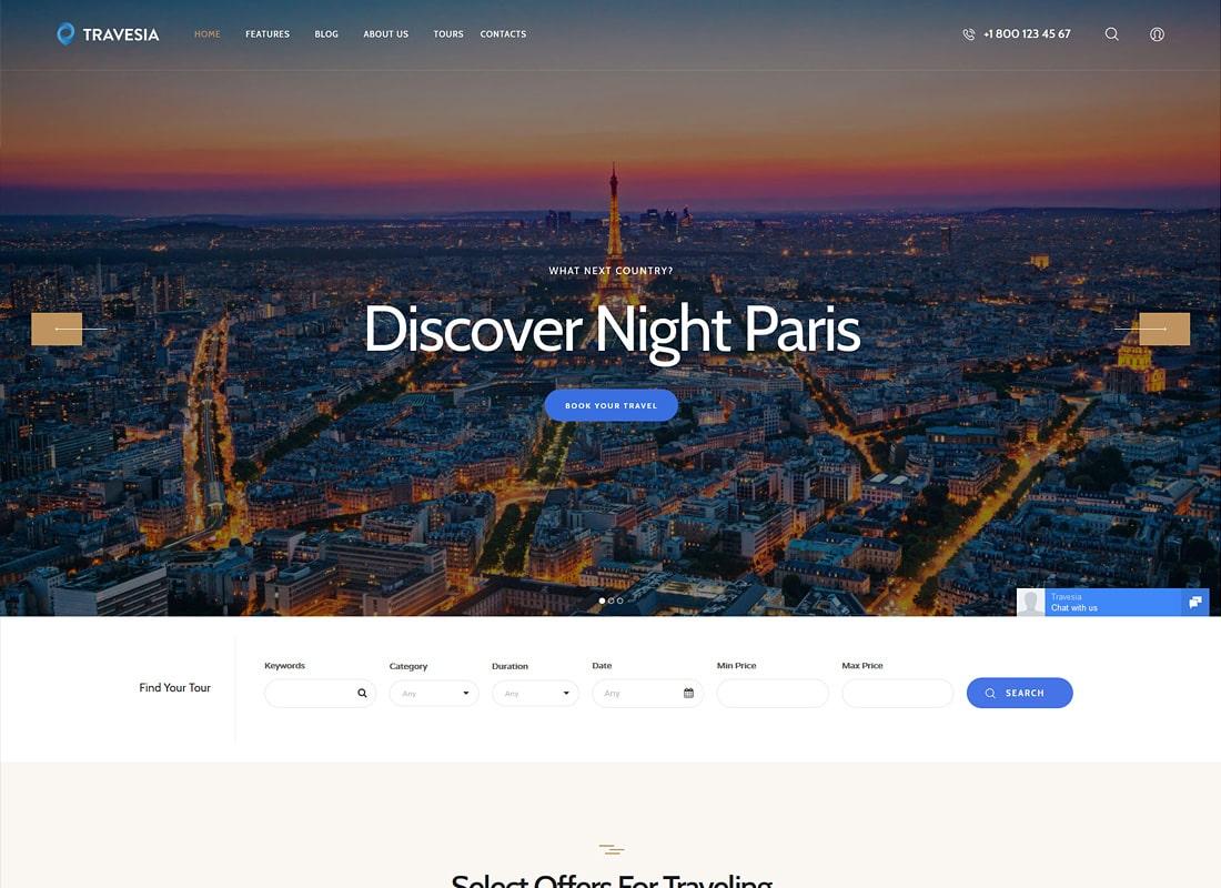 Travesia | A Travel Agency WordPress Theme Website Template