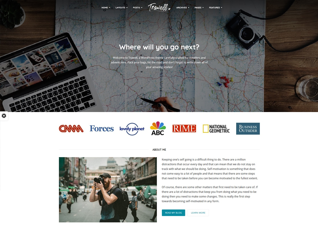 Trawell - WordPress travel theme   Website Template