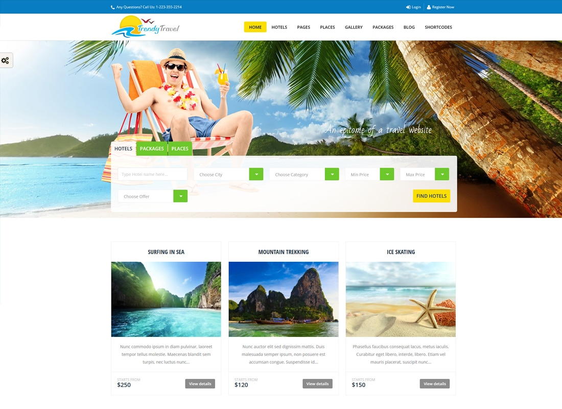 Trendy Travel - Tour, Travel & Travel Agency Theme   Website Template