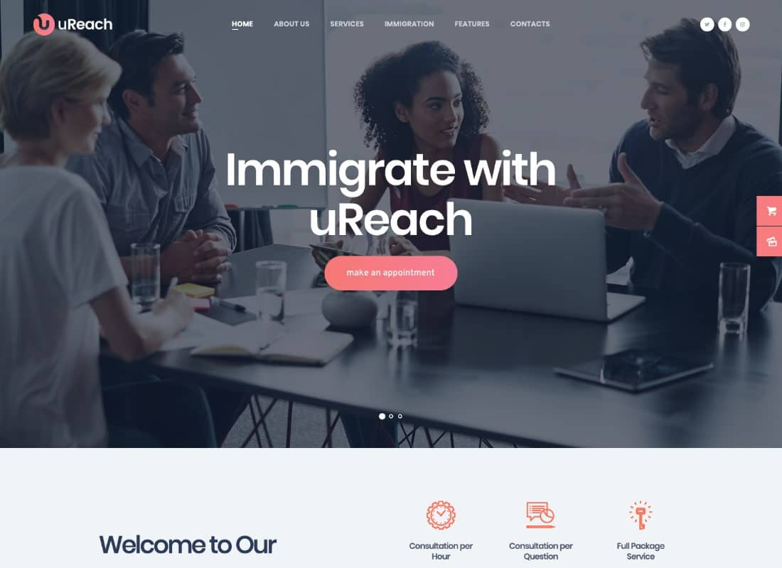 uReach | Immigration & Relocation Law Consulting WordPress Theme Website Template