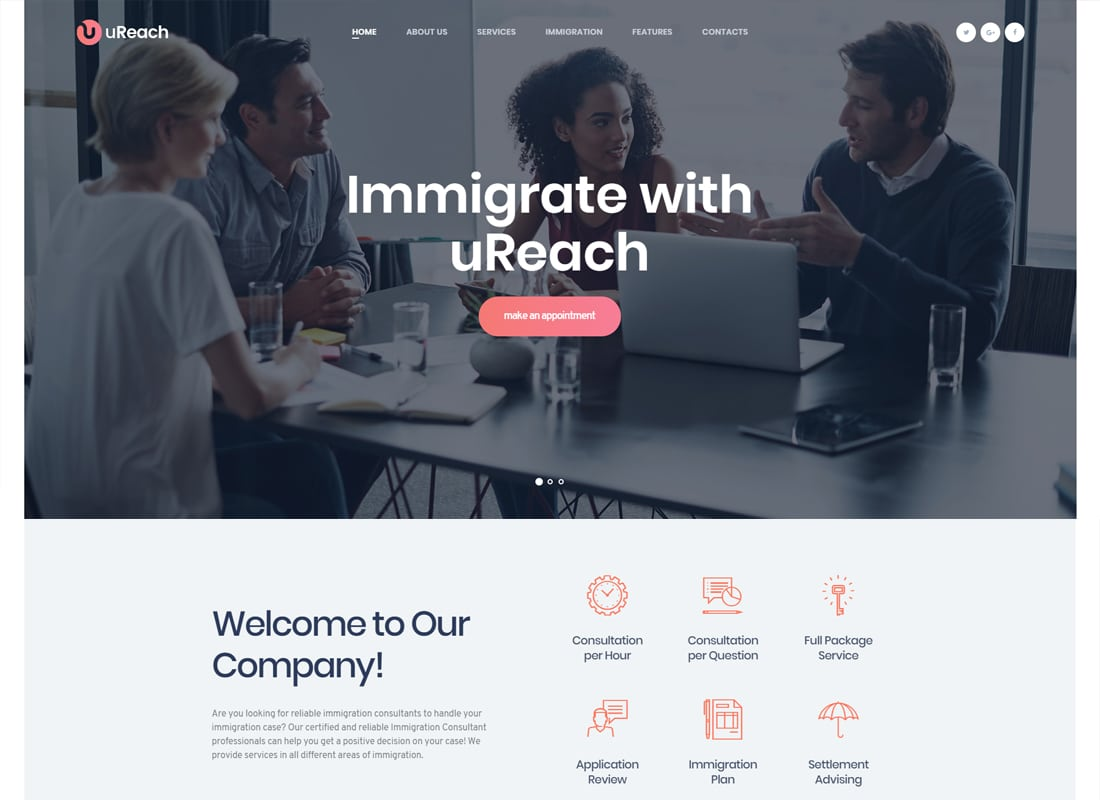 uReach | Immigration Consulting WordPress Theme Website Template
