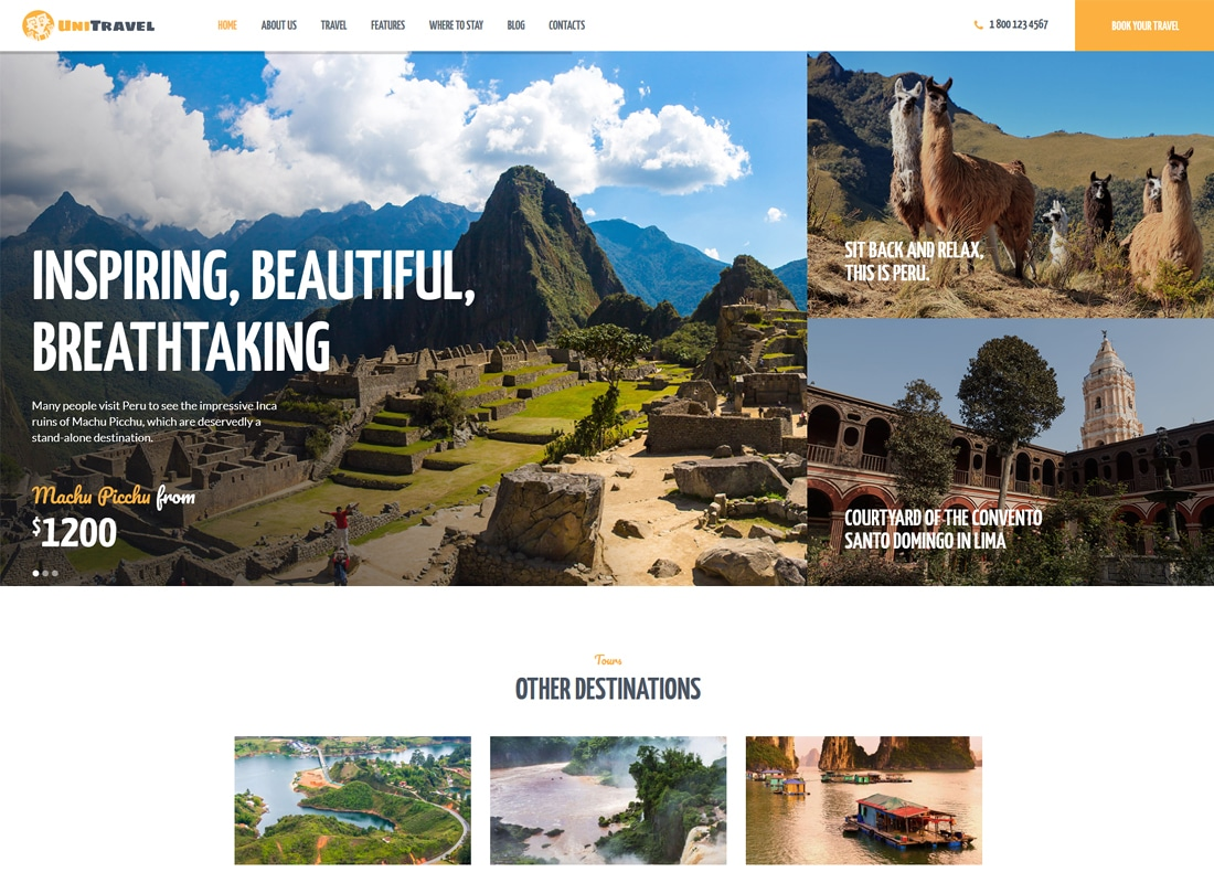 UniTravel | Travel Agency & Tourism Bureau WordPress Theme   Website Template